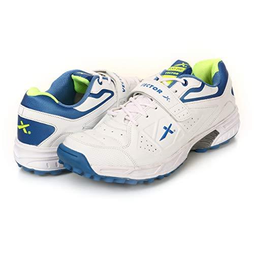 KD Vector Cricket-Schuhe mit Gummi-Spikes, Atomic Pro, Hockey, Sport, Stollen für drinnen und draußen, Trekkingschuhe, (Weiß / Blau / Grün), 38 EU