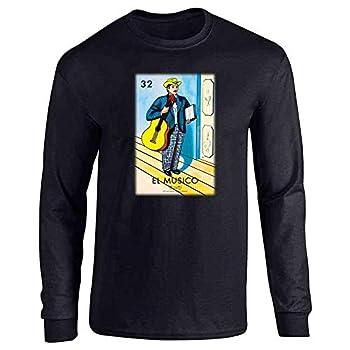 Pop Threads El Musico Musician Loteria Card Mexican Bingo Black M Full Long Sleeve Tee T-Shirt