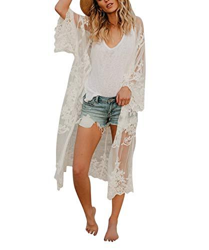 Women's Bathing Suit Kimono Beach Cover Up Lace Crochet Pool Swimwear (White, M)