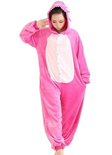 pigiama kigurumi tuta costume animale per carnevale, festa, cosplay monopezzo in flanella, morbido e comodo (Altezza 148cm-158cm/S, stitch rosa)