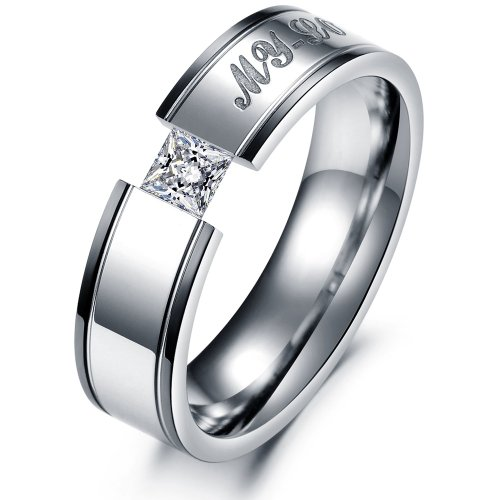 bigsoho Edelstahl Herren-Ring Gravur My Love Strass Stein Trauring Silber-Schwarz, Gr. 62 (19.7)