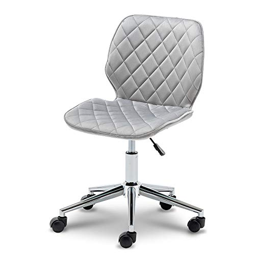 Home Office Chair, Velvet Desk Chair No Arms Height Adjustable 360°Swivel Reception Chair with Back Ring Chrome Legs For Home Office (grey velvet chair)