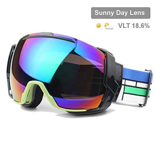 Lororenory Skibril UV400 met Sunny Day lenzen en wolkige dag lenzen, snowboard-zonnebrillen dragen over glazen