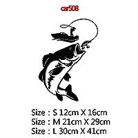 カースタイリングカーウィンドウビニール接着剤ステッカー、色名におかしい囲碁釣りや鯉ハンターカーステッカーステッカー3Dカースタイリング装飾:11、サイズ:12CM、スタイル:8 - シルバー (Color : 13, Size : 21CM)