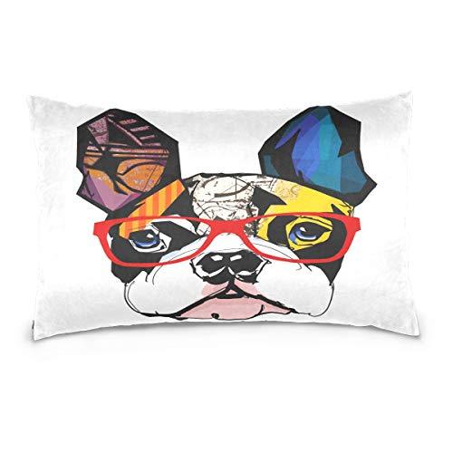 Cotton Queen Pillowcase Cartoon French Bulldog Wearing SunglassesCotton Pillow Case Queen Size Soft and Cozy Bedding Zipper Closure Pillow Cover-20x30 Inch