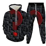 3D Sudaderas Con Capucha Jogger Pantalones,Conjunto De Chándal De Sudaderas Casuales Con Capucha, Color Gris Oscuro, Estampado De Símbolos Geométricos, Jersey De Cuello Redondo Y Pantalones De Jo