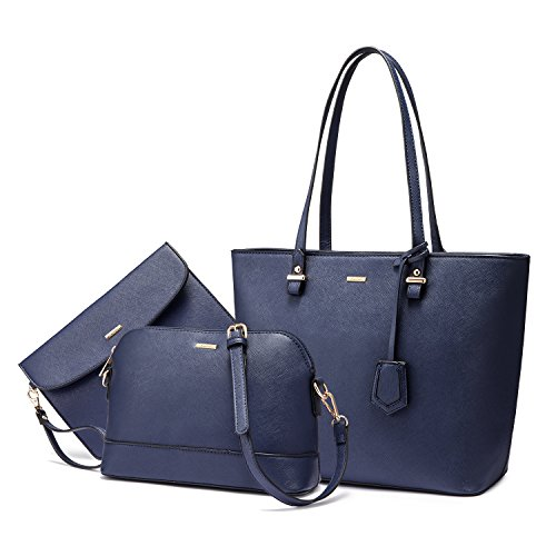【PERFECT GIFT】With fashion design and great quality, this handbag will be the perfect gift for your wife, mom, girls, and family. What are you waiting for ❤❤ 【FUNCTIONAL】Everyday 3PCS handbgs. The purse set can hold your iPad, wallet, makeups, phone,...