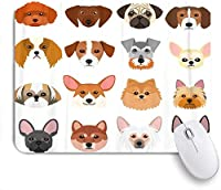 NINEHASA 可愛いマウスパッド ポメラニアンフレンチテリアのカラフルな小さな犬の顔 ノンスリップゴムバッキングコンピューターマウスパッドノートブックマウスマット