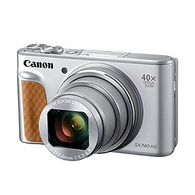 Canon PowerShot SX740 Digital Camera w/40x Optical Zoom & 3 Inch Tilt LCD - 4K VIdeo, Wi-Fi, NFC, Bluetooth Enabled (Silver)