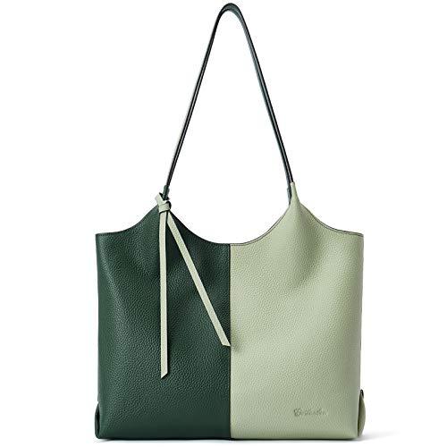 BOSTANTEN Mujer Cuero Suave Genuino Bolsos Gran Capacidad Moda Tote Casual Bolsas de Hombro Verde-Beige