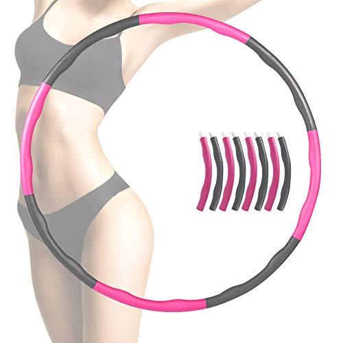 EXTSUD Hula Hoop zur Gewichtsreduktion, Abnehmbar Fitnesskreis Reifen aus Schaumstoff Einstellbar Gymnastik Kreis Hula-Hoop-Reifen für Fitness (Rosa)