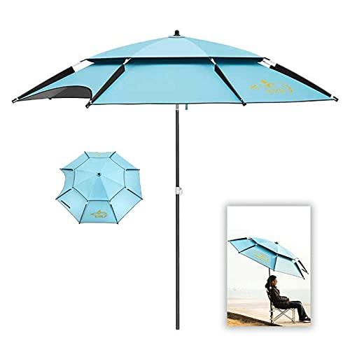 QULONG Beach Umbrella With Sand Anchor 100% UV Sun Protection With Tilt Aluminum Pole Fishing Umbrella, 360 Degree Adjustment, For Patio Garden Beach Outdoor