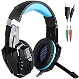 JiaLe G9000 Headset 3.5mm Game Gaming Headphone Earphone with Microphone LED Light for Laptop Tablet Mobile Phones PS4 - Black + Blue