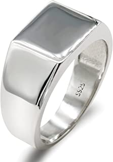Solid 925 Sterling Silver Signet Ring for Men Simple Classic Pinky Ring by Dinuo