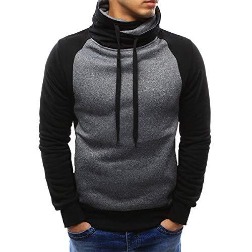 CuteRose Men Oversize Fashion Loose Fit Stand Collar Splicing Pullover Top Sweatshirt Dark Grey XL