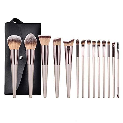 Anjing Lot de 14 pinceaux de maquillage synthétiques Kabuki - Manche en bois - 23,2 x 12,5 cm