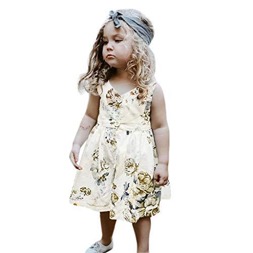 Keerads - Vestido para nia, falda de nia, vestido sin mangas, princesa, vestido de verano, vestido de flores para nios multicolor 3-4 Aos