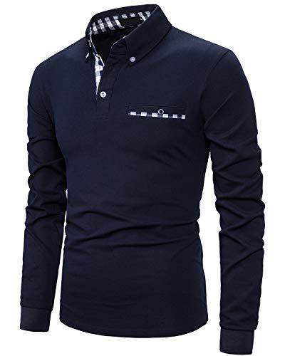 IVAN-LI Men's Long Sleeve Polo Shirts Casual Fit Plaid Collar Cotton Golf T-Shirts,Navy Blue,M