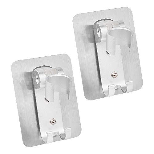 Duschkopfhalterung Ohne Bohren Brausehalter klebende Duschkopf-Wandhalterung mit Haken Aluminium für Badezimmer Hotel Geschenk 2 Stück