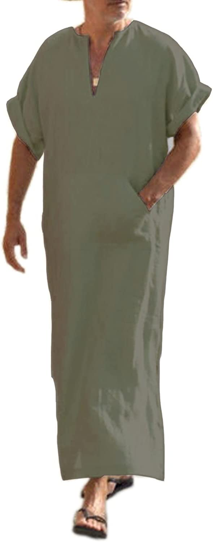 COOFANDY Men's V-Neck Linen Robe Short Sleeve Kaftan Thobe Long Gown Casual Shirt for Beach, Summer
