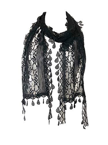 Pamper Yourself Now swarz Blatt Spitzen schal (Black Leaf lace)