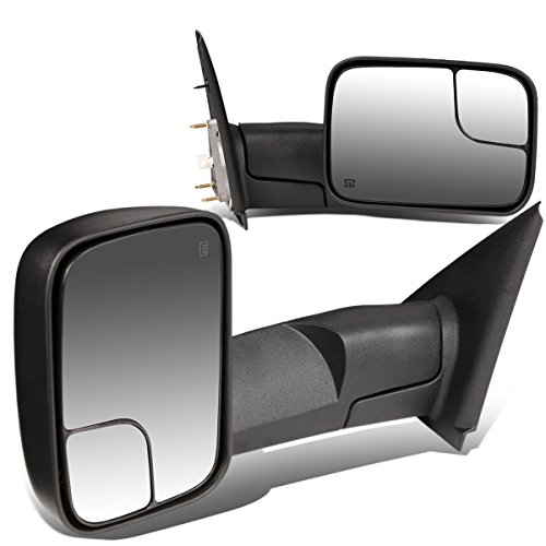 For Dodge RAM Pair of Black Powered + Heated Glass + Manual Foldable Side Towing Mirrors