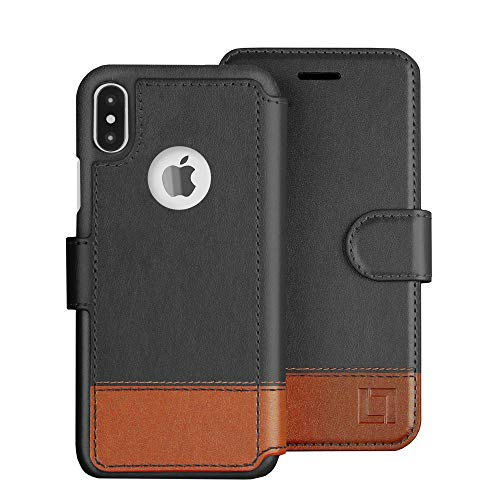 LUPA iPhone X Wallet Case-Slim & Lightweight iPhone X Flip Case with Credit Card Holder - iPhone 10 Wallet Case For Women & Men - Faux Leather iphone Xs Purse Cases with Magnetic Closure – Smoky Cedar