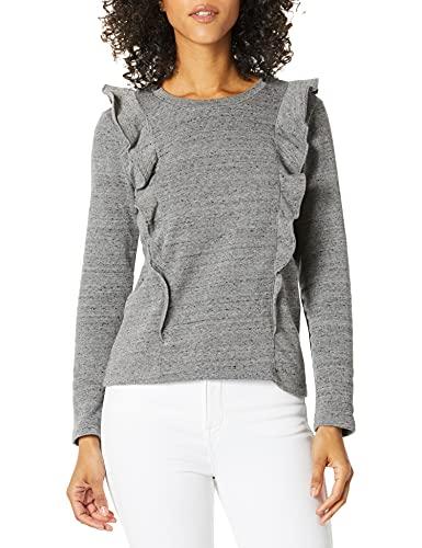 J.Crew Mercantile Damen Ruffle Trim Crewneck Sweatshirt Pullover, Grau meliert, X-Klein