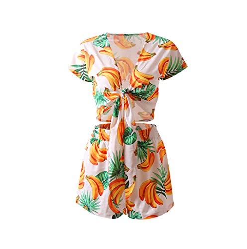 TUDUZ Shorts und Top Sets Damen Sommer Strand Zweiteiler Schulterfrei Sunflower Printed Beachwear Chiffon Crop Tops (T1-Gelb, S)