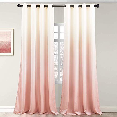 StangH Kids Room Pink Ombre Curtains Gradient Print Soft Velvet Curtains 84 inches Length Fairy Decorative Drapery for Nursery Babys Girls, W50 x L84, Cream White to Pink, 2 Panels