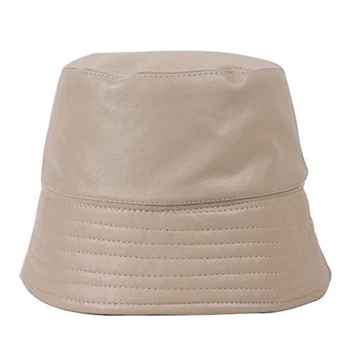 Gorras de mujer Sombrero al aire libre de ocio - de moda de cuero artificial de la PU de las mujeres del sombrero del cubo del otoño y del invierno caliente Pesca felpa mullida plana sombrero al aire
