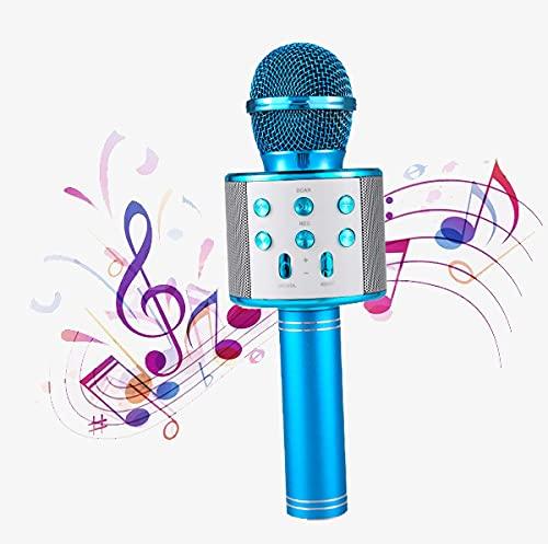 Haudang Kabellos Karaoke-Mikrofon Tragbares Startseite KTV Fuer Musik Spielen und Singen Lautsprecher Spieler Selfie Phone PC Blau