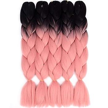 VCKOVCKO Ombre Braiding Hair Extension Synthetic Kanekalon Fiber for Twist Braiding Hair,3 Tone Jumbo Box Braiding Hair 24 ,5 Bundles/Lot,Black-Smoke Pink