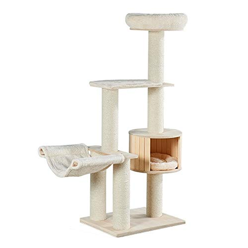 Cat Tree Tower Cat Climbing Tree Sisal Column Pet Cat tree Arctic Cashmere Cat Litter Pet Cat Toy Hammock Cat Litter Kitten Furniture Activity Centre ( Color : Picture color , Size : 150 x 50 x 55cm )