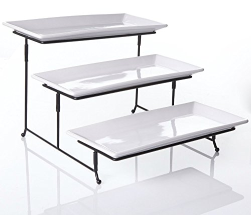 Partito Bella 3 Tier Swiveling Plate Rack Stand Including Three 12x6 Pro-Grade Porcelain Platters for Presentations of Any Kind – Thicker Sturdier Collapsible Stand and Stackable Platters