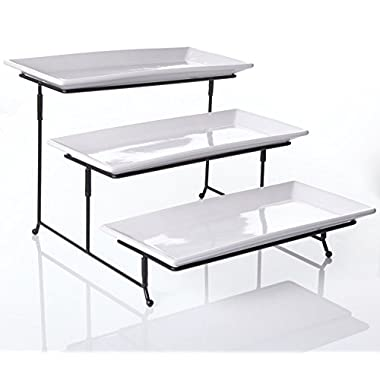 3 Tier Collapsible Thicker Sturdier Plate Rack Stand With Plates - Three Tiered Cake Serving Tray - Dessert Fruit Presentation - Party Food Server Display - 3 White 12' x 6  Porcelain Platters Incl.