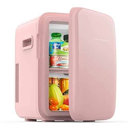 huasa Mini Nevera 10L AC/DC Mini Refrigerador Portátil con Función de Refrigeración y Calefacción Control de Temperatura 2 en 1 para Hogar, Oficio y Coche, Skincare, Alimentos, Bebidas,Pink