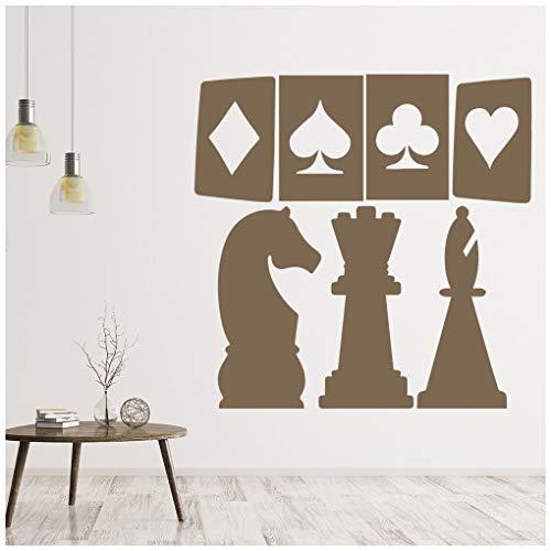 azutura Karten und Schach Wandtattoo Kartenspiele Wand Sticker Glücksspiel-Casino Wohnkultur verfügbar in 5 Größen und 25 Farben Groß Weiß