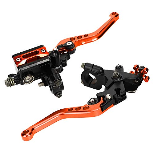 Aramox Bremshebel Brems Kupplungshebel, Universal 7/8-Zoll-hydraulisch verstellbarer oberer Pumpenhandgriff für die Bremskupplungshebel(Orange)