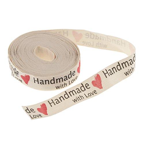 LOVIVER 5 Yardas Hand Made Impresa Tela Cinta Regalo Pack Arte Decoración de Casamiento - Corazón, 5 Yardas