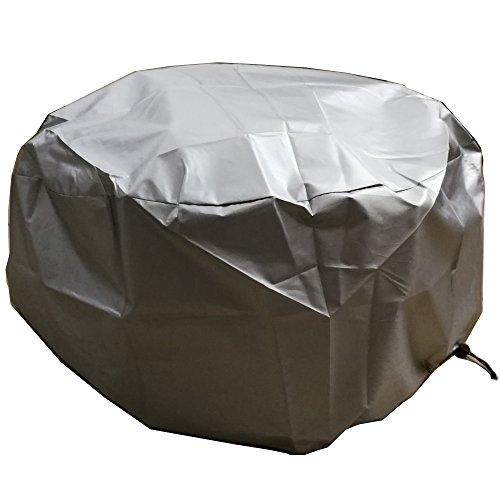 LU2000 rund Outdoor Fire Pit Cover, Feuerstelle Schutz Regen Abdeckung, wasserfest, UV-Schutz Regen Cover, log Brenner – Silber