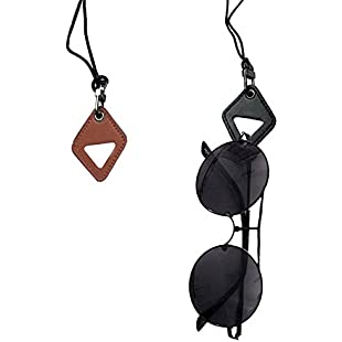 SwirlColor Reading Glasses Necklace Chain, Fashion Eyeglass Holder Necklace with Leather Pendant 2 Pcs - Brown
