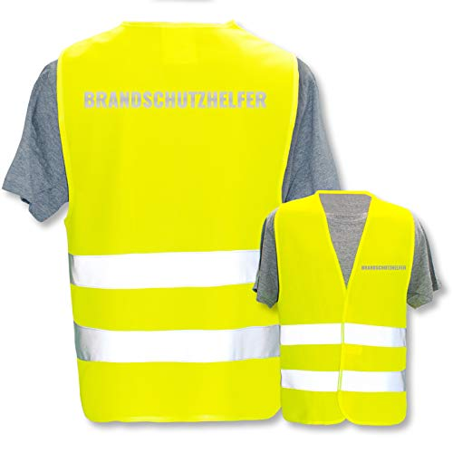 Bedruckte Warnwesten mit ISO-Leuchtstreifen * Standard- oder Reflex-Druck * Erste Hilfe und Brandschutz * Begriff: Brandschutzhelfer (Reflektierend) * Farbe (Größe): Gelb (XL/XXL)