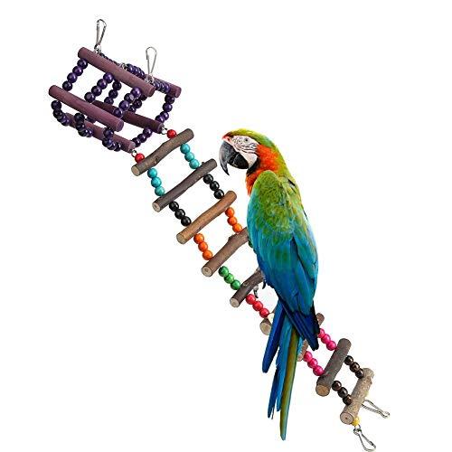 Papagei Leiter, Spielzeug, buntes Holz, Klettern, Leiter, mit farbiger Perle für Wellensittiche, Wellensittiche, Nymphensittiche, Vögel, Hamster, Rennmäuse, 54,5 x 11 x 11 cm