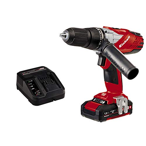 Einhell Expert TE-CD 18-2 Li-I Kit - Taladro percutor sin cable (batería de litio, 1.5 Ah, incluye maletín Bmc, 2 velocidades, 48 Nm, Power X-Change, luz LED, 18 V), color rojo