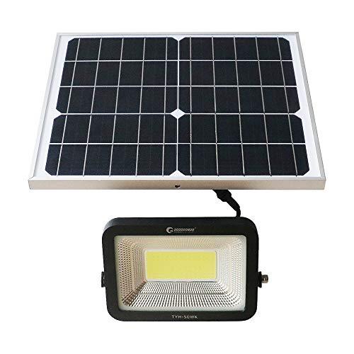 グッドグッズ(GOODGOODS) 分離型 COB LED ソーラーライト 50W 昼光色 屋外 ソーラー 投光器 角度調節自由 電池交換式 庭園灯 玄関 廊下 駐車場 夜自動点灯 TYH-50WK