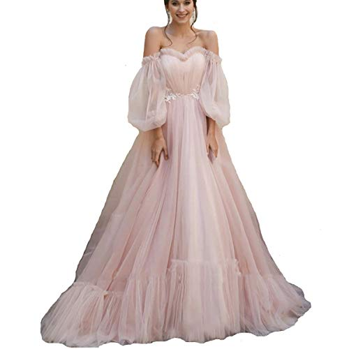 TPonline Tulle Off Shoulder Court Train Prom Dress Long Sweetheart Puff Sleeves Wedding Gown with Lace Up 14 Pearl Pink