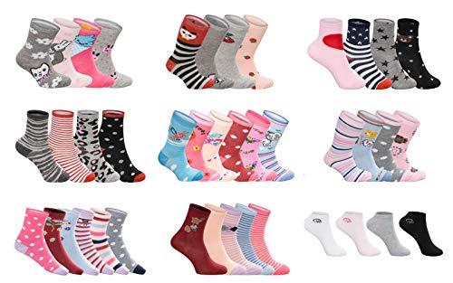 SG-WEAR 12 Paar Kindersocken für Mädchen mit hohem Baumwollanteil bunte Kinder Socken in verschiedenen Motiven/Girl Strümpfe in Größe 23-26, 27-30, 31-34, 35-38 / Ganzjahresartikel (Motiv 1, 23-26)