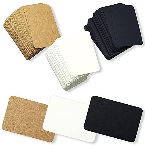 クラフト紙 無地 カード タグ POP メッセージカード ハンドメイド ギフト 9cm×5cm (白茶黒 300枚)