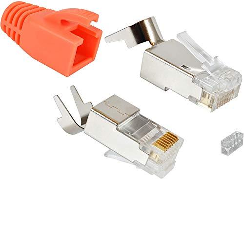 VESVITO 10x Cat.6A RJ45 Stecker Crimpstecker für CAT6A CAT7 CAT7A CAT8.1 Netzwerkkabel Verlegekabel AWG 22, 23, 24, Adern Ø 1,2-1,45 mm, Installationskabel Ethernet LAN Kabel Netzwerkstecker orange